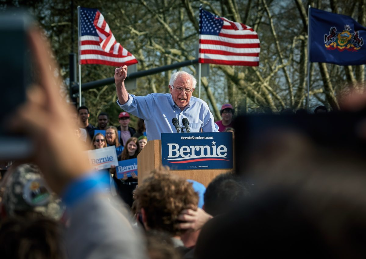 Popular Democratic Socialist Bernie Sanders' campaign rally at the University of Pittsburgh